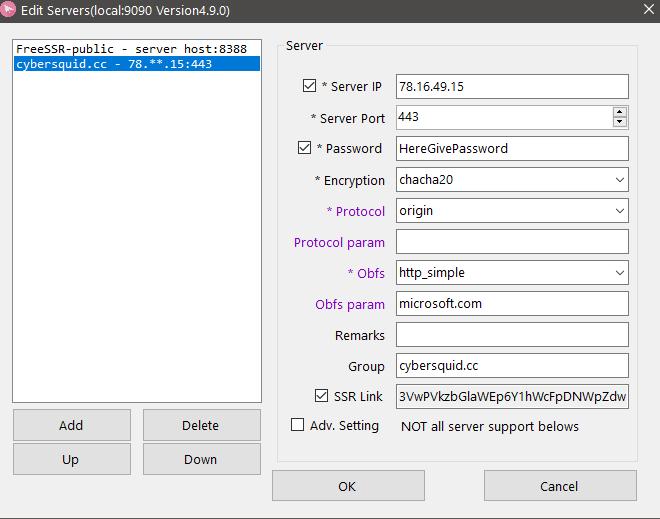 Edit servers Shadowsocks
