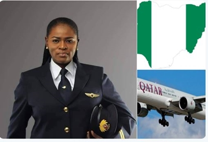 Meet the First Nigerian Female Pilot with Qatar Airways, Mrs Adeola Ogunmola Sowemimo flying the Boeing 787 Dreamliner Aircraft