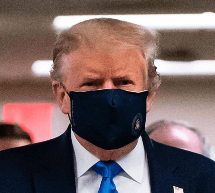 Coronavirus: Donald Trump wears face mask for the first time