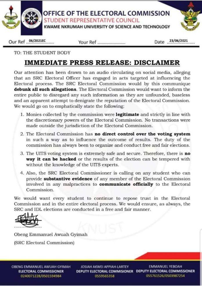 KNUST SRC EC Scandal: Transaction Evidence Emerges After EC Official Denial