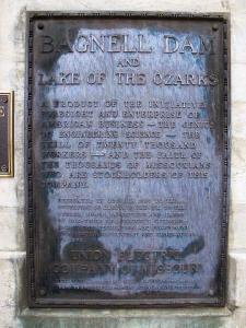 The names of Egan and the other felons who managed Union Electric during the building of Bagnell Dam are cast in bronze on this plaque attached to the powerhouse.  It was Egan's pond, but his role in this enormous undertaking has been forgotten.