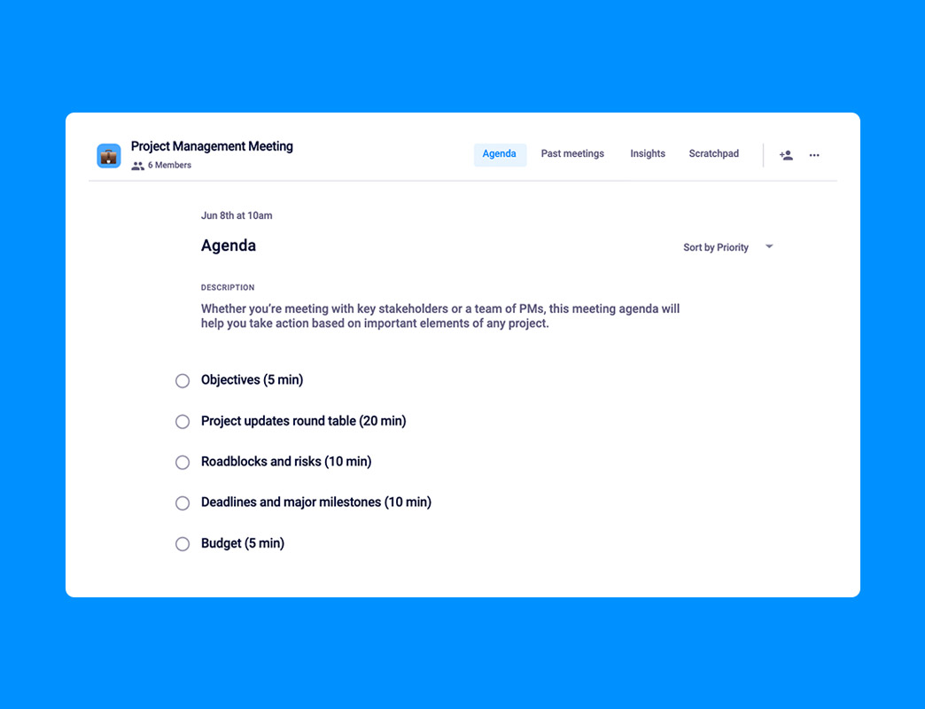 You can also use our various templates on the project meeting agenda. 5 Things To Add To Your Project Management Meeting Agenda Hypercontext