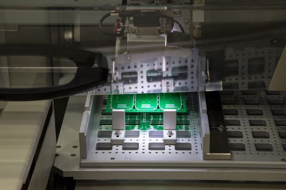 PCB panel in the in-line PCB router