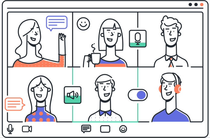 Illustration of six people using a video chat app.
