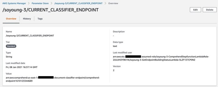 You can check the updated classifier and endpoint from the Parameter Store.