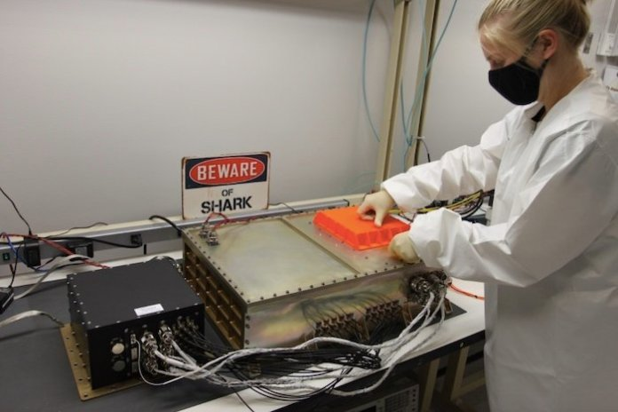 The SharkSat unit during preparation