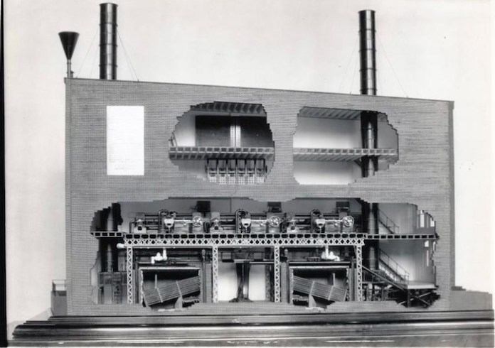A model of the Pearl Street Station, the first commercial power plant.