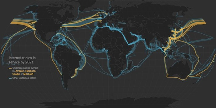Underwater internet cables as of 2021