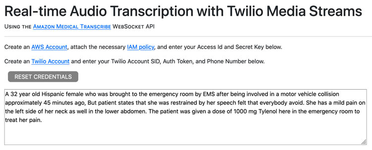 perform medical transcription analysis in real time with aws ai services and twilio media streams 23 hyperedge embed image
