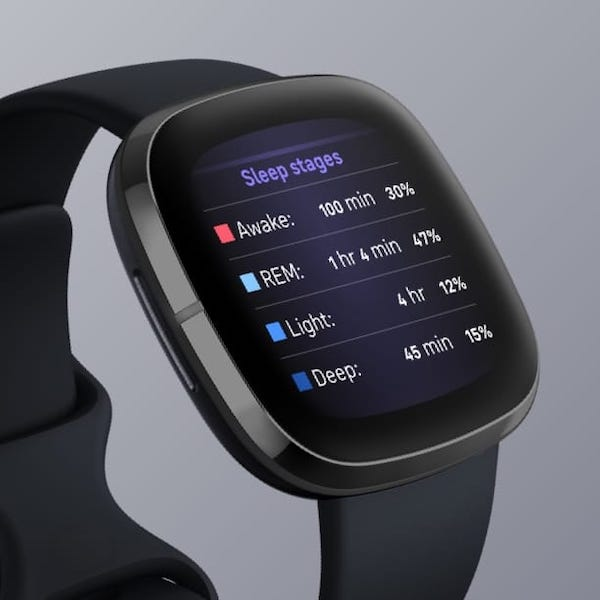 An example of sleep stages tracked in a wearable