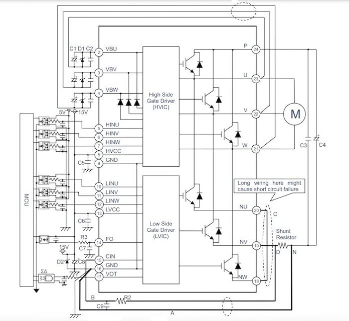 An example of an opto-isolated application circuit schematic for the BM64x series.