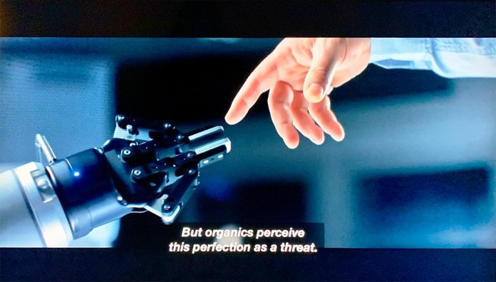 A shot from Star Trek Picard where we can see the Robotiq 2F-85 cobot gripper at 26:08