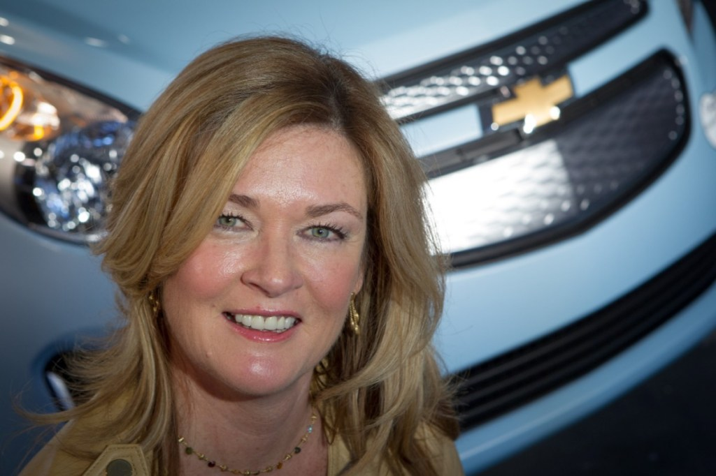 General Motors Chief Engineer Hybrid and Electric Powertrain Engineering Pam Fletcher with the 2014 Spark EV Tuesday, November 27, 2012 at a Chevrolet event on the eve of the Los Angeles International Auto Show in Los Angeles, California. When it goes on sale next summer, the Spark EV is expected to have among the best EV battery range in its segment and will be priced under $25,000 with tax incentives. (Chevrolet News Photo)
