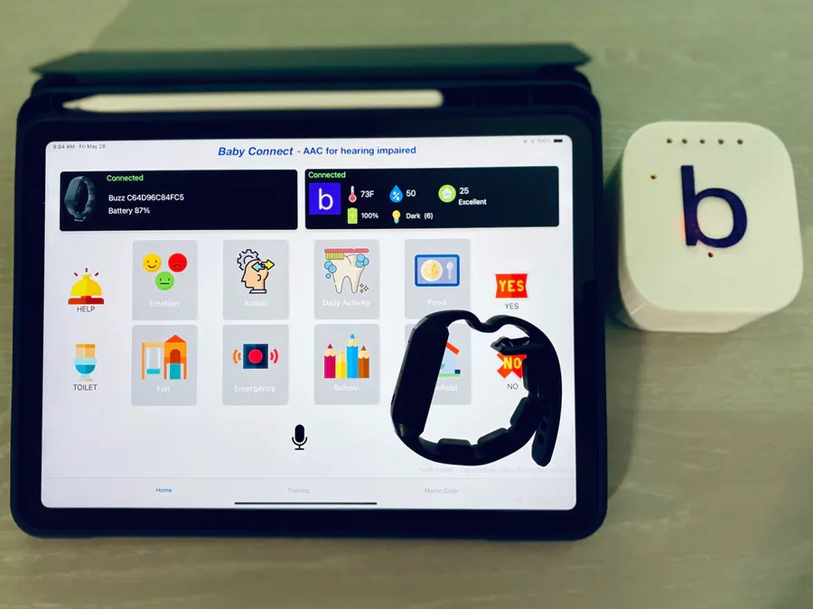 this system uses machine learning and haptic feedback to enable deaf parents to communicate with their kids hyperedge embed