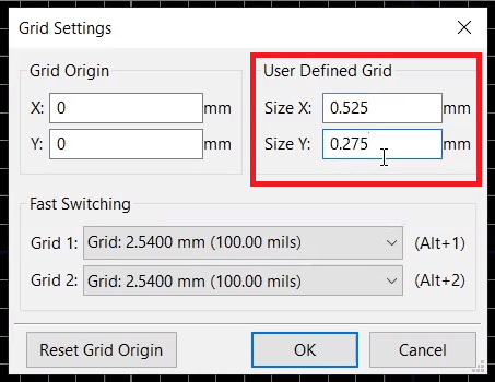 Setting the grid properties in KiCad for footprint generation