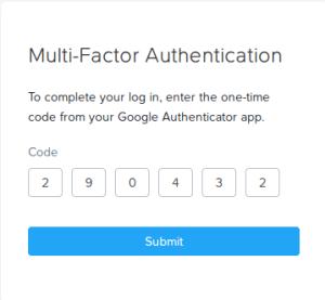 Multi factor authentication code