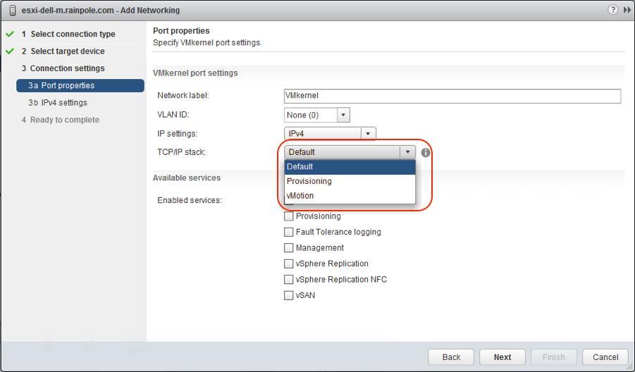 VMware ESXi TCP/IP Stack Options