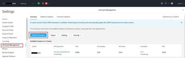 Perform inventory Using Nutanix LCM Dark Site Server