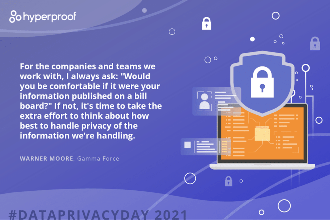 "Warner Moore, Gamma Force, says For the companies and teams we work with, I always ask: ""Would you be comfortable if it were your information published on a bill board?"" If not, it's time to take the extra effort to think about how best to handle privacy of the information we're handling."