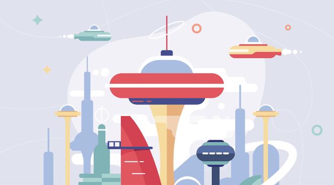 A futuristic looking city.