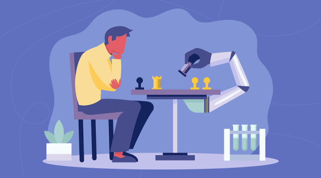 A vector character plays chess with a robot arm, representing the strategy in choosing top data compliance frameworks with best monitoring