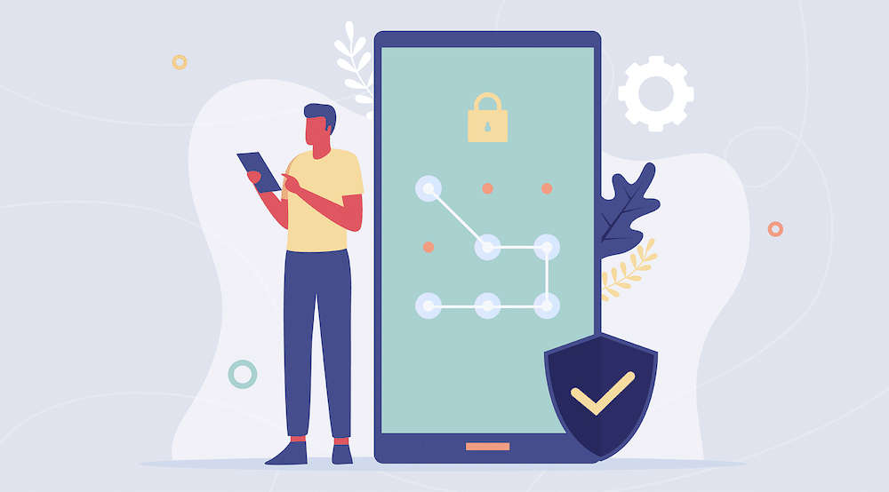 A vector character looks on his phone for which cybersecurity standards to adopt next