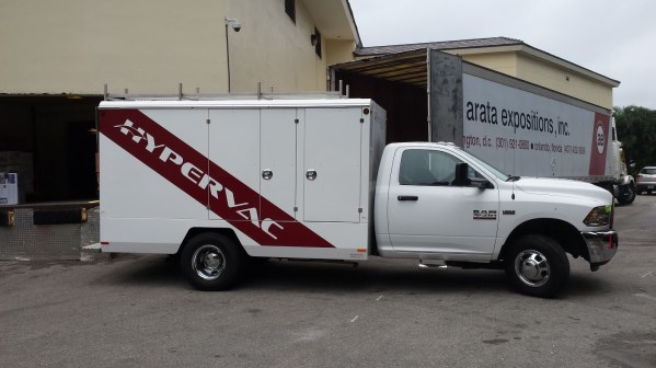 Hypervac logo on duct truck
