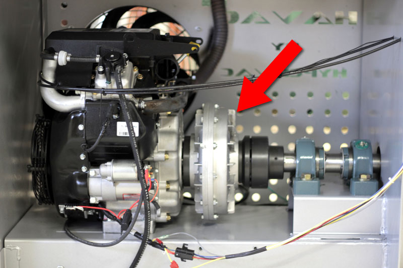 The fluid coupler is located between the high speed bearings and the engine.