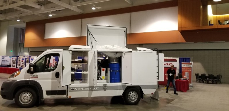 H1 duct truck blue bin on display NADCA