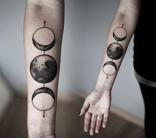 3 Sun Tattoo And X Moon 2
