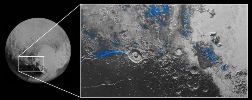 Água congelada na superfície de Plutão
