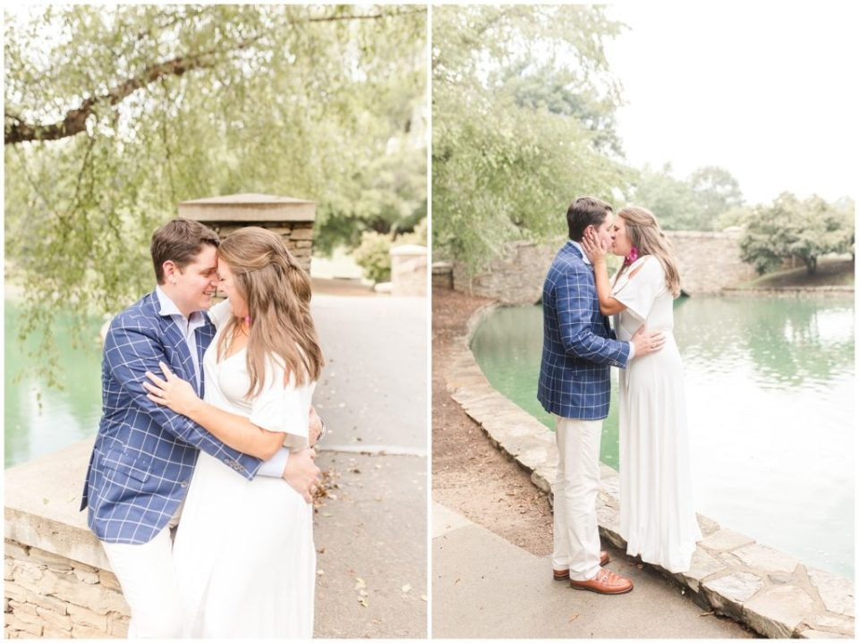 freedom park charlotte nc engagement session in white dress and blue sport coat