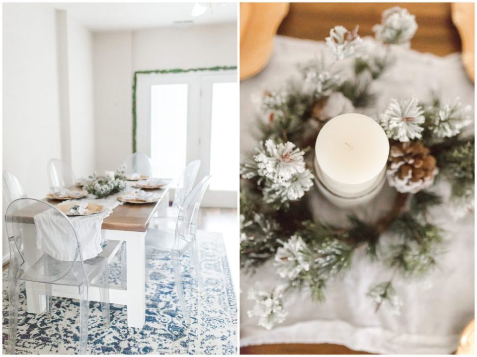 farmhouse kitchen table with blue and snowy christmas theme for HYPimages holiday home tour