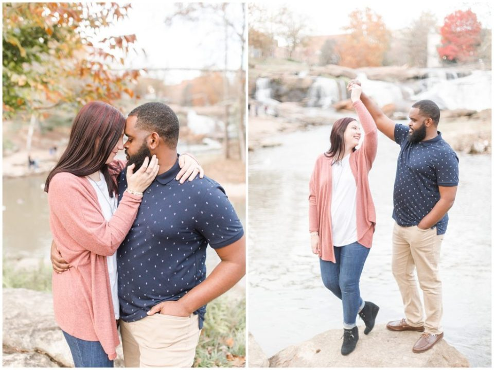 fall engagement session at falls park on the reedy in greenvile sc by HYPimages