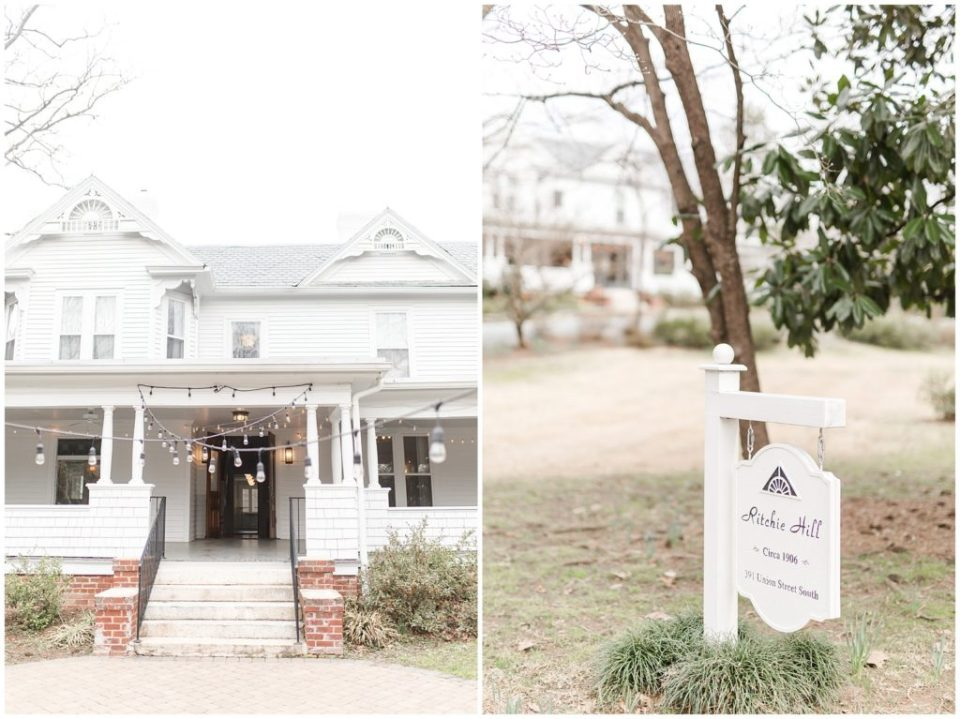 on ritchie hill wedding venue, white farmhouse with huge wrap around porch