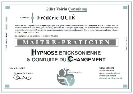 Diplôme Maître Praticien Hypnose ericksonienne et conduite du Changement (H&C)