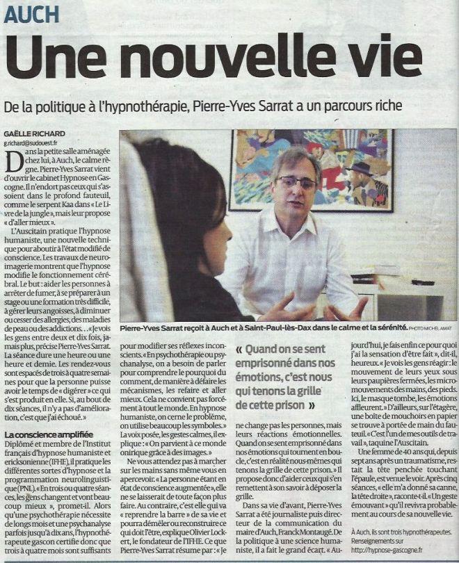 article sud-ouest 14 avril 2015, hypnose à Auch