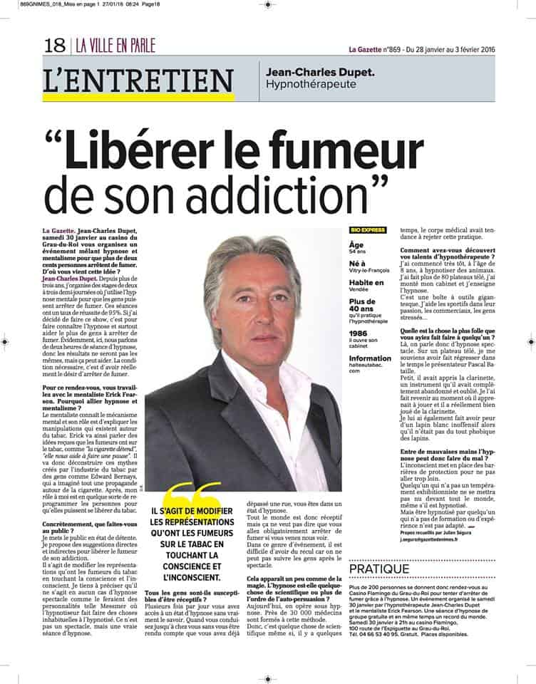 "Journal La gazette ""Libérer le fumeur de son addiction"""