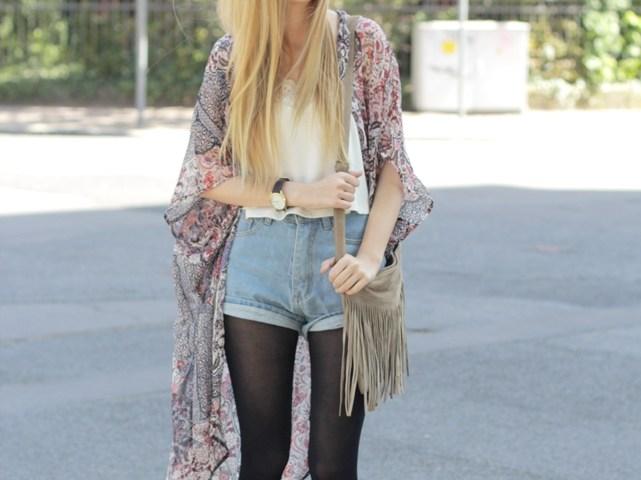 Kimono Jeansshorts Outfit 2