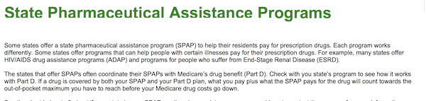 What Is SPAP prescription state program