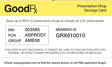 GoodRx Drug Card