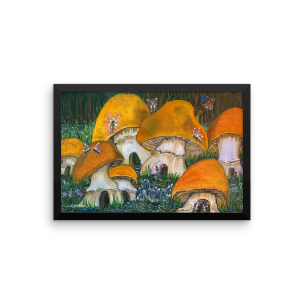 Mushroom Village Framed photo paper poster