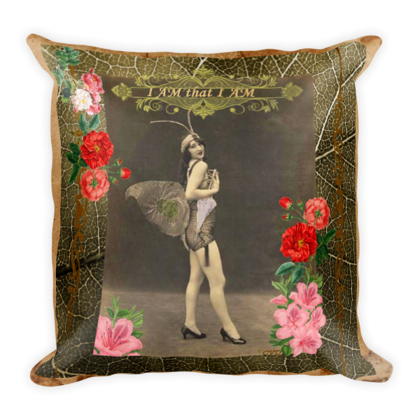 """""""I AM that I AM"""" Vintage Fairy Square Pillow"""