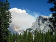 Smoke billowing out over half dome. They were starting to pull people from the area via helicopter.
