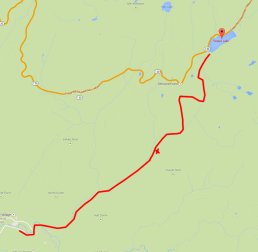 The approximate route. X marks the camp site.