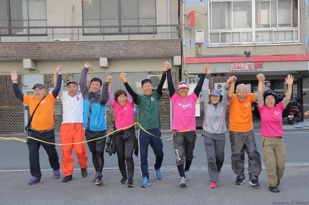 Aチームゴール「愛媛チャリティ100km歩くぞなもし」100kmウォーキングに参加しました