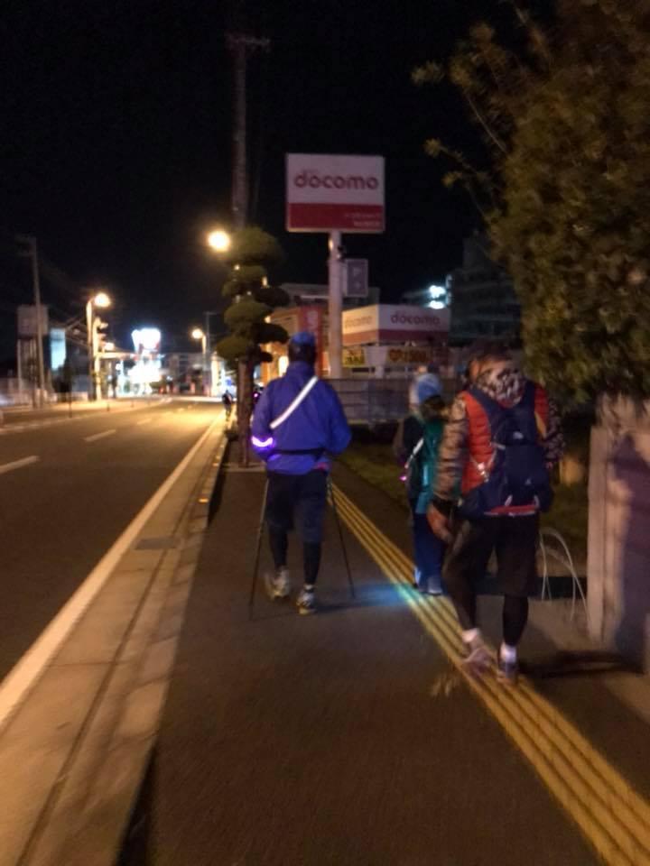 深夜1時「愛媛チャリティ100km歩くぞなもし」100kmウォーキングに参加しました