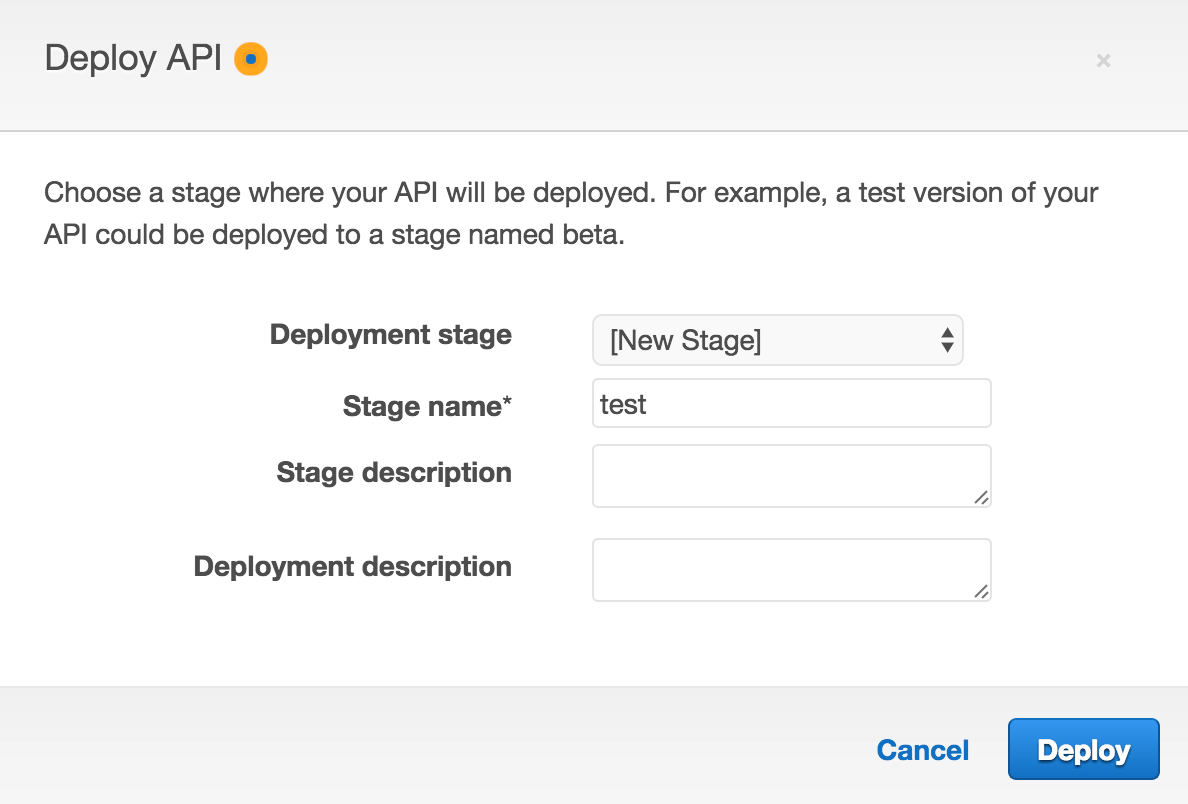 API Gateway Stage Screenshot