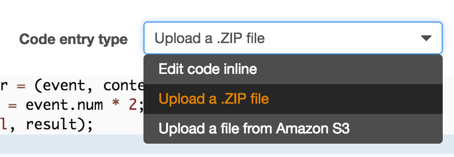 Lambda Upload ZIP Screenshot