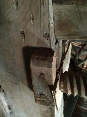 Framskruven frå undersida. I benkeplata er tappane låst med 5 trenaglar som er slått gjennom frå oppsida. Foto: John Selsjord